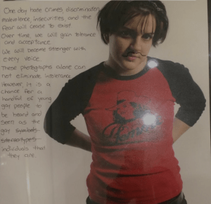 Artist Rachelle Lee Smith's traveling exhibit was vandalized in a number of ways, including by drawing a mustache on her self-portrait. (Photo courtesy Philly Magazine)