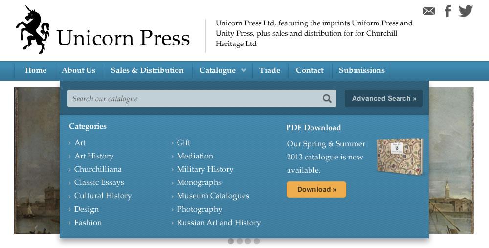 Screen shot of Unicornpress.org home page