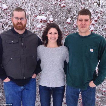 Tight-knit family: Megan (center) and Spencer (right), pictured with their older brother, Kyle (left), were on their way to a family event in Iowa when the young woman was shot dead.