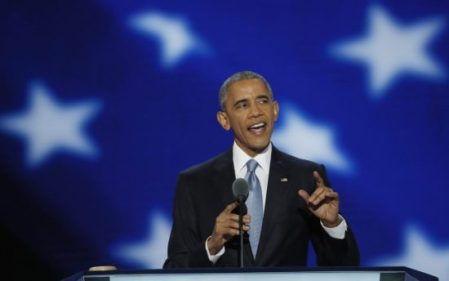 U.S. President Barack Obama speaks on the third night of the Democratic National Convention in Philadelphia, Pennsylvania, U.S. July 27, 2016. (PHOTO: REUTERS/MIKE SEGAR)