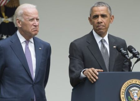 US President Barack Obama speaks alongside US Vice President Joe Biden about the Supreme Court's ruling to uphold the subsidies that comprise the Affordable Care Act, known as Obamacare, in the Rose Garden of the White House in Washington, DC, June 25, 2015. AFP PHOTO / SAUL LOEB
