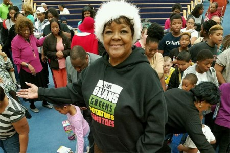 Pastor Shirley Caesar feeds and gives toys to thousands of families at her annual toy drive in Raleigh, NC Sunday, Dec. 18, 2016 in partnership with Toys for Tots (Photograph: Instagram)