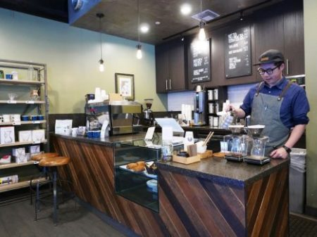 Matthew Ng at the helm of Steeple House Coffee bar / Joshua Lurie