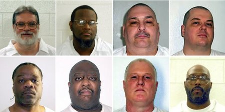 Arkansas plans to execute eight inmates in April. The inmates, clockwise from top left, are Bruce Ward, Kenneth Williams, Jack Harold Jones, Jason McGehee, Stacey Johnson, Don Williamson Davis, Marcel Williams and Ledell Lee. (Credit: Arkansas Department of Correction)
