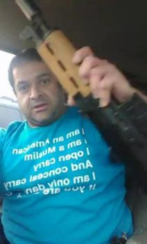"(PHOTO: SCREENCAP/FACEBOOK/BRANNON HOWSE) Ehab Jaber, the ""Muslim John Smith,"" seen in a Facebook video threatening Christians after he was ejected from a conference in Sioux Falls, South Dakota, on April 9, 2017."