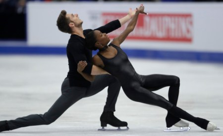 Vanessa James and Morgan Cipres, of France, skate their free program to take the bronze at the European Figure Skating Championships in Ostrava, Czech Republic, Thursday, Jan. 26, 2017. (AP Photo/Petr David Josek)