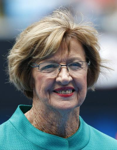 In this Jan. 26, 2015 photo, Australian tennis great Margaret Court smiles during the official launch of the remodeled Margaret Court Arena at the Australian Open tennis championship in Melbourne. (AP Photo/Vincent Thian)