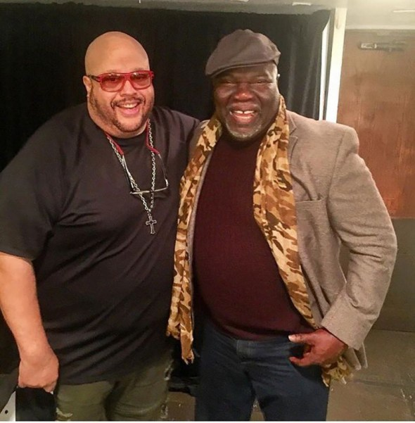 (Photo: Screencap/Twitter/Fred Hammond) Gospel singer Fred Hammond with Bishop T.D. Jakes during the Gospel of Praise tour on November 20, 2016.