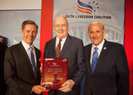 James Dobson receives the Winston Churchill Lifetime Achievement Award at the Faith & Freedom Coalition's Patriot's Gala on Saturday, June 10, 2017. (PHOTO: TWITTER/FAMILYTALK)