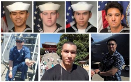 A combination photo of the dead sailors identified by the U.S. Navy in the collision incident between U.S. Navy destroyer USS Fitzgerald and Philippine-flagged merchant vessel south of Tokyo Bay on June 17, 2017. Top row (L-R) Fire Controlman 2nd Class Carlos Victor Ganzon Sibayan, 23, from Chula Vista, CA; Gunner's Mate Seaman Dakota Kyle Rigsby, 19, from Palmyra, VA; Sonar Technician 3rd Class Ngoc T Truong Huynh, 25, from Oakville, CT; and Yeoman 3rd Class Shingo Alexander Douglass, 25, from San Diego, CA. Bottom row (L-R) Fire Controlman 1st Class Gary Leo Rehm Jr., from Elyria, OH; Personnel Specialist 1st Class Xavier Alec Martin, 24, from Halethorpe, MD; and Gunner's Mate 2nd Class Noe Hernandez, 26, from Weslaco, TX. U.S. Navy/Handout via REUTERS