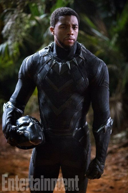 Unmasking T'Challa  Star Chadwick Boseman (42, Get On Up) says this movie will show a different dimension to T'Challa, protecting the place he loves, rather than pursuing a mission of vengeance. In this scene, he personally takes down some interlopers who have entered Wakanda seeking its Vibranium riches.