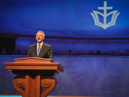 The Rev. Robert Jeffress preaches at First Baptist Church of Dallas.  Photo by Luke Edmonson, courtesy of First Baptist Church of Dallas