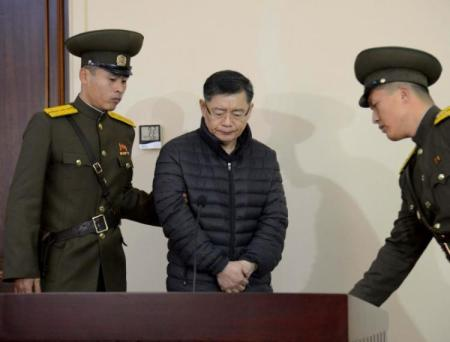 FILE PHOTO – South Korea-born Canadian pastor Hyeon Soo Lim stands during his trial at a North Korean court in this undated photo released by North Korea's Korean Central News Agency (KCNA) in Pyongyang December 16, 2015. KCNA/File Photo via REUTERS