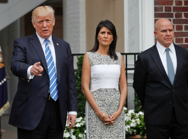 President Donald Trump speaks as U.S. Ambassador to the United Nations Nikki Haley and national security adviser H.R. McMaster listen at Trump National Golf Club in Bedminster, N.J., Friday, Aug. 11, 2017. (AP Photo/Pablo Martinez Monsivais)