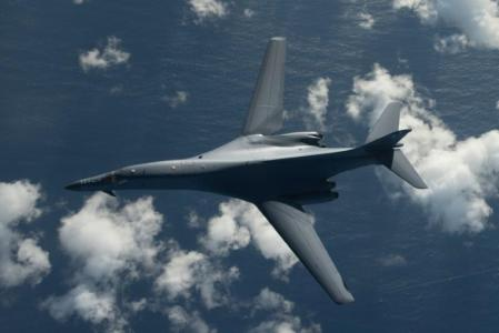One of two U.S. Air Force B-1B Lancer bombers flies a 10-hour mission from Andersen Air Force Base, Guam, into Japanese airspace and over the Korean Peninsula, July 30, 2017. U.S. Air Force photo/Airman 1st Class Jacob Skovo/Handout via REUTERS.