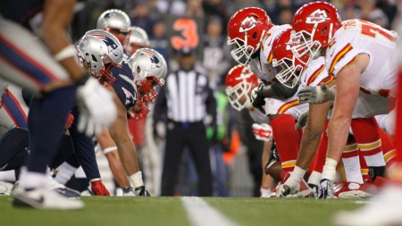 Jan 16, 2016; Foxborough, MA, USA; The Kansas City Chiefs line up against the New England Patriots during the second half in the AFC Divisional round playoff game at Gillette Stadium. Mandatory Credit: Stew Milne-USA TODAY Sports