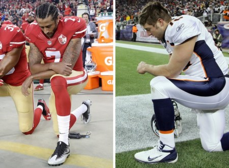 San Francisco 49ers quarterback Colin Kaepernick kneels during the national anthem before an NFL football game against the Los Angeles Rams in 2016. Denver Broncos quarterback Tim Tebow kneels on the sidelines before a playoff football game in 2012. (Stephan Savoia/Associated Press)