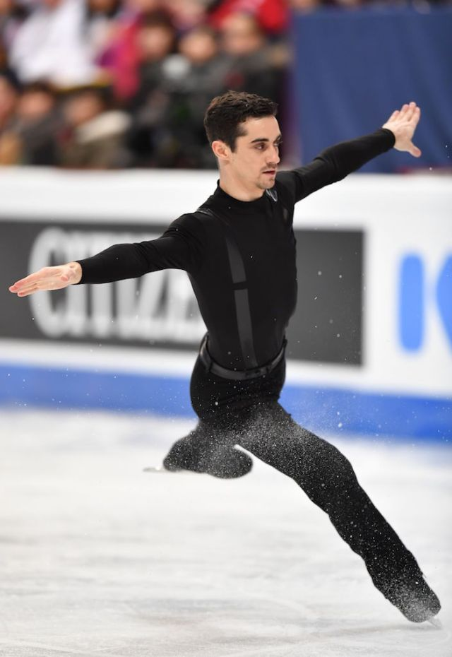 Spain's Javier Fernandez, currently ranked first, competes in the men's short program at the ISU World Figure Skating Championships in Helsinki, Finland on March 30, 2017. / AFP PHOTO / Daniel MIHAILESCU (Photo credit should read DANIEL MIHAILESCU/AFP/Getty Images)