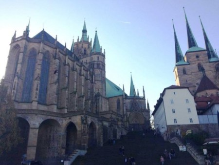 (PHOTO: THE CHRISTIAN POST) The Cathedral of Saint Mary (left) and the Church of Saint Severus (right) in Erfurt, Germany.