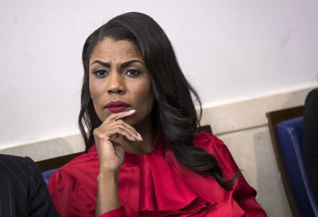 FILE - DECEMBER 13, 2017: The White House has announced that Omarosa Manigault Newman will resign from her position as director of communications for the White House Office of Public Liaison effective January 20. WASHINGTON, DC - OCTOBER 27: Director of Communications for the White House Public Liaison Office Omarosa Manigault listens during the daily press briefing at the White House, October 27, 2017 in Washington, DC. (Drew Angerer/Getty Images)