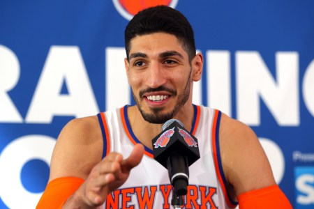 Sep 25, 2017; Greenburgh, NY, USA; New York Knicks center Enes Kanter (00) speaks to the media on media day at MSG Training Center. Mandatory Credit: Brad Penner-USA TODAY Sports