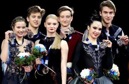 From Left to Right: Christina Carreira and Anthony Ponomarenko (USA), Anastasia Skoptcova and Kirill Aleshin (RUS), and Sofia Polishchuk and Alexander Vakhnov (RUS)  Photo © Robin Ritoss