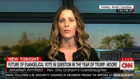 Jerushah Armfield, granddaughter of Billy Graham, in a CNN interview posted on December 26, 2017. (CNN)