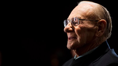 Canadian Second World War veteran and hockey hall of fame inductee Johnny Bower takes part in ceremony showing the new exhibit dedicated to First World War and Second World War veterans at the Hockey Hall of Fame in Toronto on Monday, November 10, 2014. (AP Photo/The Canadian Press, Nathan Denette)