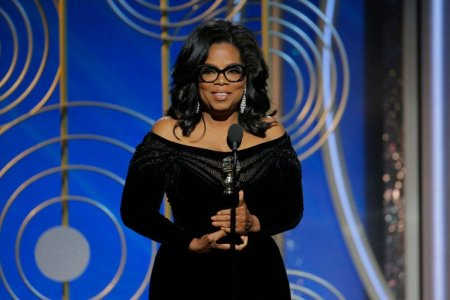 "At the crescendo of her acceptance speech, Oprah Winfrey said of powerful and abusive men, ""Their time is up. Their time is up."" Credit Paul Drinkwater/NBC"