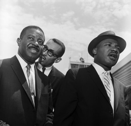 The Rev. Wyatt Tee Walker, center, in 1961 with the Rev. Dr. Martin Luther King Jr. and another King aide, the Rev. Ralph Abernathy, in Montgomery, Ala. Getty Images