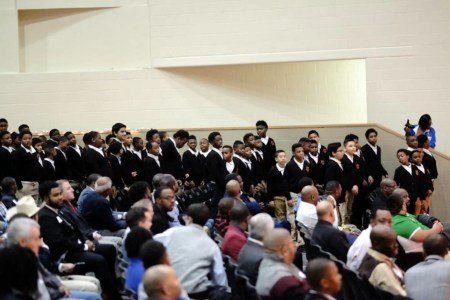 """Hundreds attend """"Breakfast with Dads"""" at Billy Earl Dade Middle School in Dallas on Dec. 14. (Stephanie Drenka)"""
