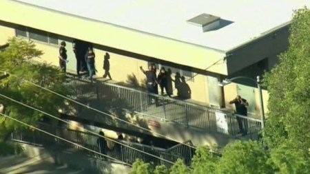 A female student was taken into custody after shots were fired inside a Los Angeles middle school classroom. (KTTV)