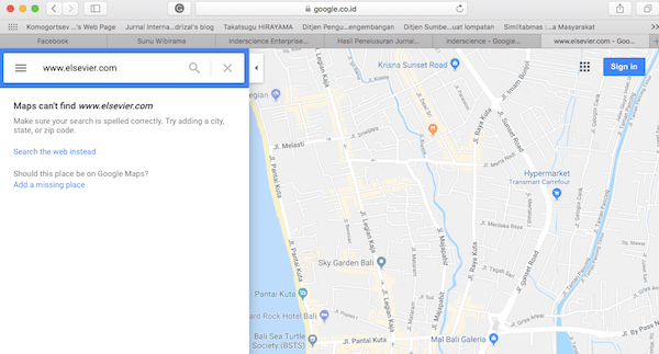 "Hasil penelusuran Google Map dengan memasukkan kata kunci ""www.elsevier.com""."