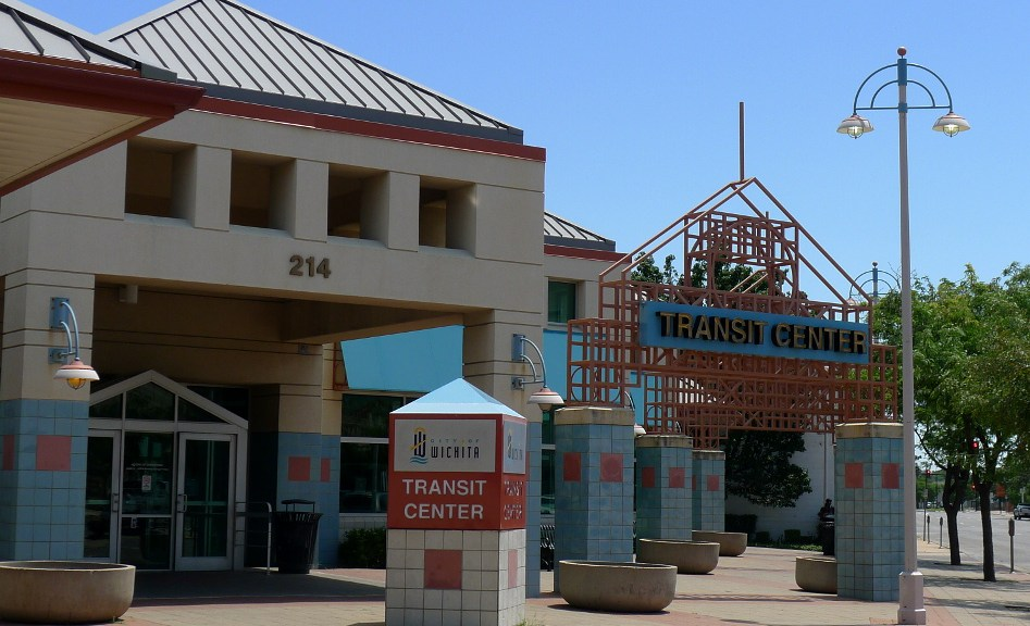 Lights of various types turned on in the afternoon, Wichita Transit Center, July 11, 2104.