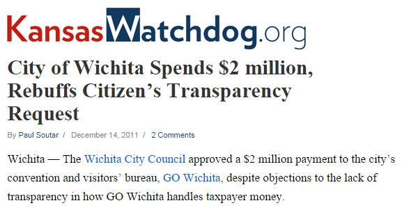 City of Wichita Spends 2 million Rebuffs Citizen's Transparency Request