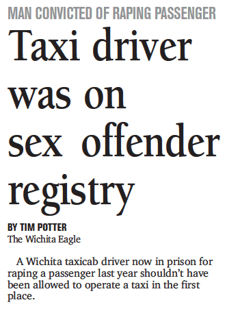 Taxi driver was on sex offender registry