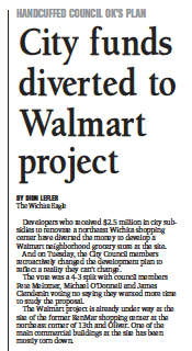 City diverted funds to Walmart project