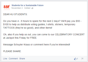 Students for a Sustainable Future Facebook post. Click for larger version.