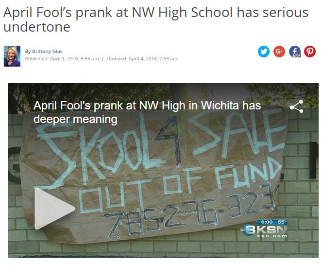 April Fools prank at NW High School has serious undertone