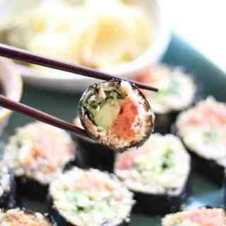 """Cauliflower """"Rice"""" Spicy Tuna Rolls"""