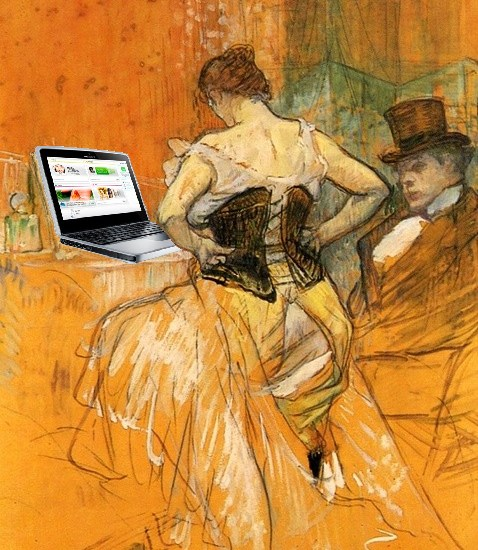 Blogger in a Corset, after Toulouse-Lautrec by Mike Licht via Flickr Creative Commons. http://www.flickr.com/photos/notionscapital/7238678328/