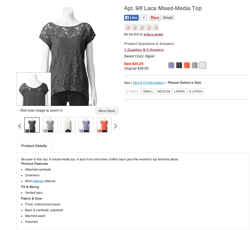 Kohl's Apt. 9 Lace Mixed Media Top - Misses. Screenshot from Kohls.com.