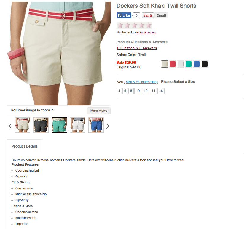 Dockers Soft Khaki Twill Shorts. Screenshot from Kohls.com.