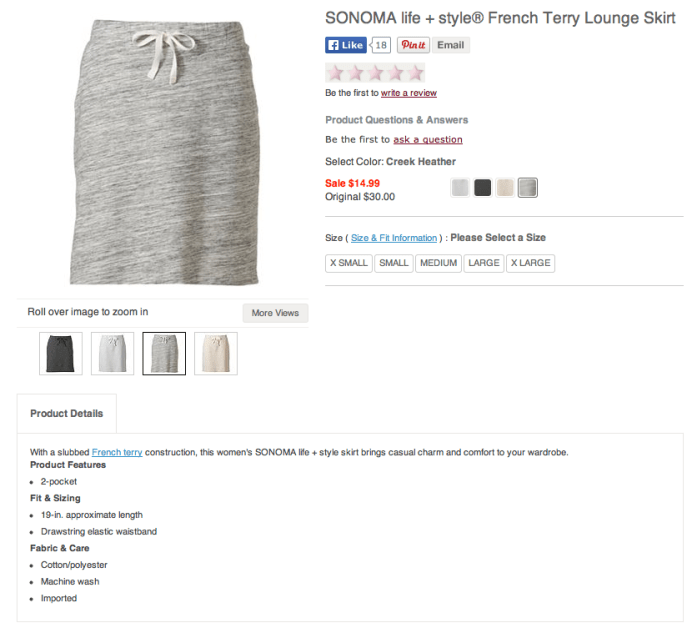Kohl's Sonoma life+style French Terry Lounge Skirt. Screenshot from Kohls.com.