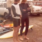 Dave Grey and Chris Salter at Compton waiting for their heat in an Isle of Wight Surf Club Competition