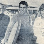 The first three in the championship (from the left); Sidney Pitman, Roger Cooper (holding his home made board) and Rory Angus