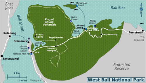 map of west bali national park