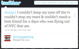 Mixtapetina's tweet with the #on911 hastag