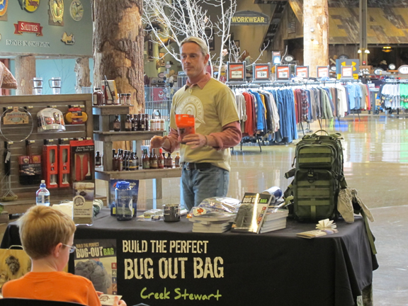 Creek teaching Bug Out Bag Seminar at Bass Pro Shops