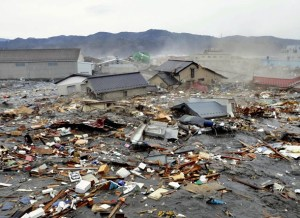 Coastal City in Japan Flooded by Tsunami